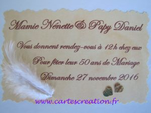 carte invitation 50 ans mariage