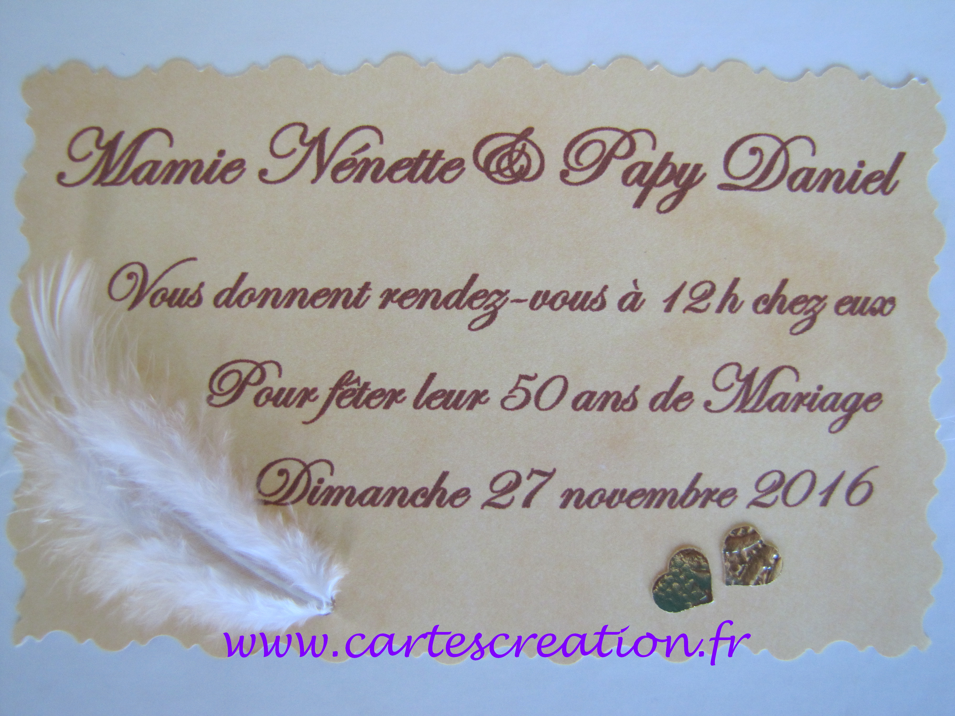 carte d 39 anniversaire 50 ans de mariage cartes cr ation. Black Bedroom Furniture Sets. Home Design Ideas