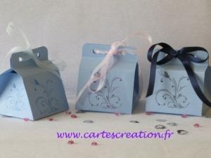 Bonbonnières de dragées mariage bleues avec rubans - Maine et Loire
