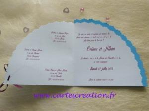 Faire-part mariage éventail Paris Romantique