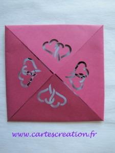 Faire-part mariage carré mystérieux framboise et bleu