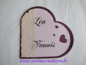 Faire-part mariage coeur violet