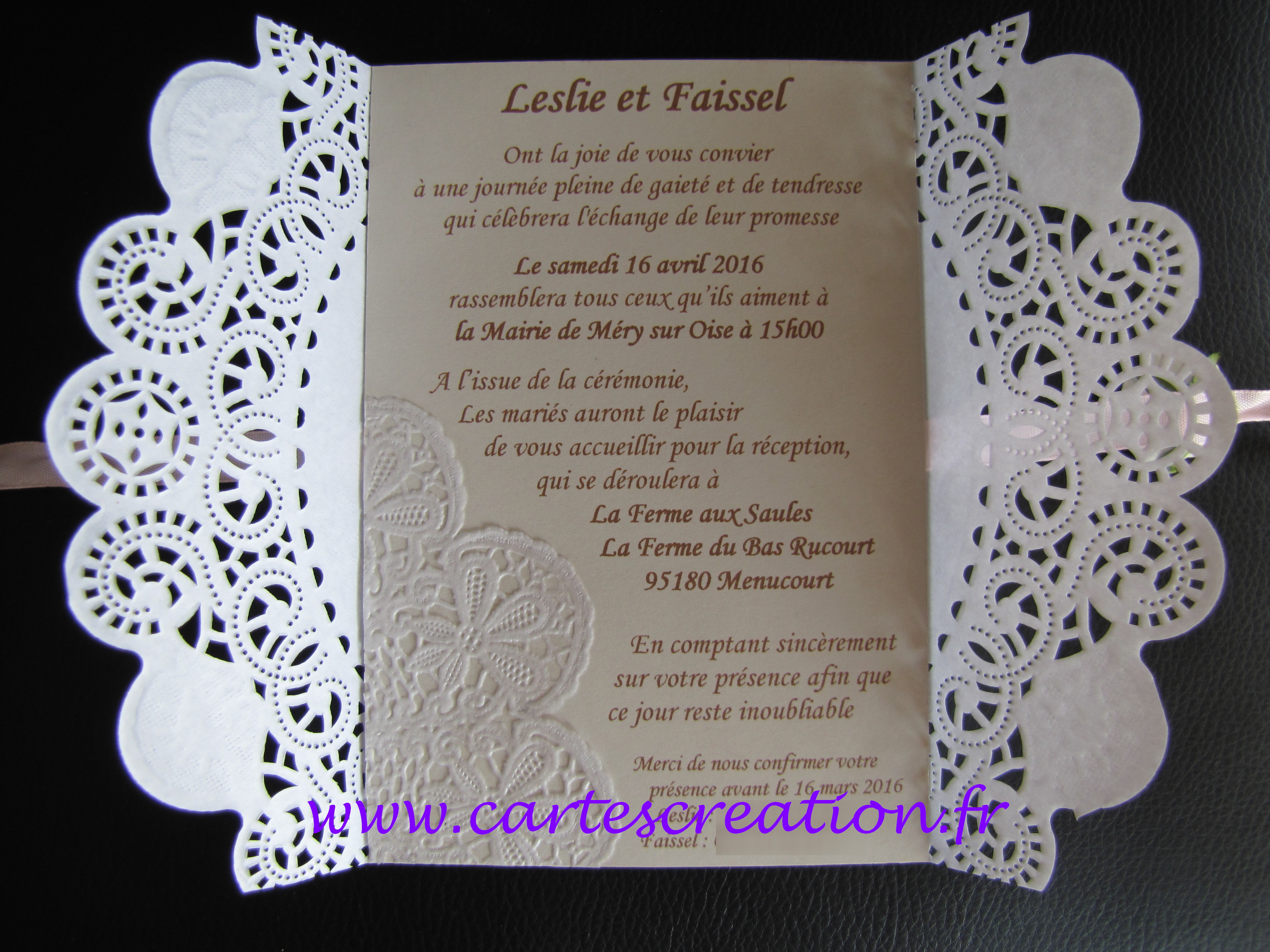 faire part mariage dentelle chic cartes cr ation. Black Bedroom Furniture Sets. Home Design Ideas