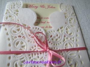 Faire-part mariage dentelle chic