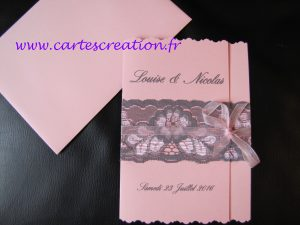 Faire-part dentelle tissu broderie Anglaise