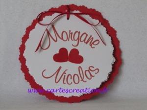 Faire-part mariage rouge et blanc rond passion - cartescreation.fr