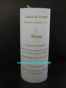 Menus photophores blanc et vert anis - Menus photophores avec rubans