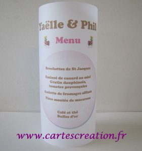 Photophore mariage macaron rose et chocolat