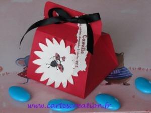 Bonbonnières de dragées coccinelles avec rubans - Bonbonnières de dragées avec rubans personnalisées