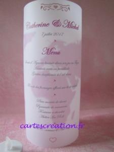 Photophore mariage thème voyage blanc et rose - Menus photophores sans ruban