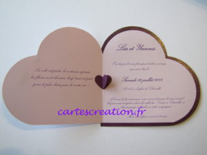faire part mariage c ur violet cartes cr ation. Black Bedroom Furniture Sets. Home Design Ideas