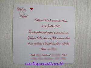 Faire-part de mariage rouge et blanc passion - cartescreation.fr