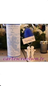 Menu photophore ruban bleu roi ange et plume - cartescreation.fr