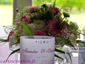 Menus photophores voyage rose perforation coeur - cartescreation.fr