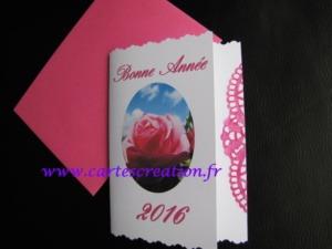 Carte de bonne année personnalisée rose