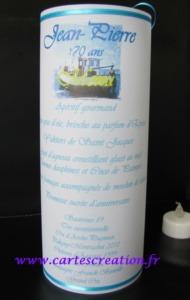 Menu photophore anniversaire 70 ans -  ruban turquoise - cartescreation.fr
