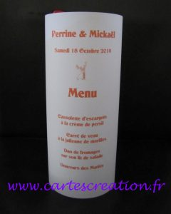Menu photophore calque blanc ruban orange - cartescreation.fr