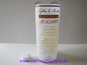 Menu photophore mariage voyage - ruban chocolat - cartescreation.fr