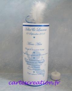 Menu photophore mariage - ange et plume ruban bleu roi - cartescreation.fr Maine et Loire