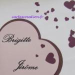Brigitte et Jérôme : faire-part de mariage coeur violet