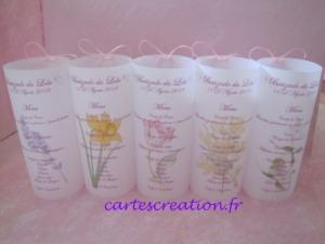 Photophore baptême fille fleur - Lola - cartescreation.fr