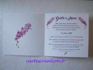 Faire-part mariage orchidée - cartescreation.fr