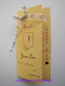 Carte menu anniversaire 50 ans mariage - cartescreation.fr