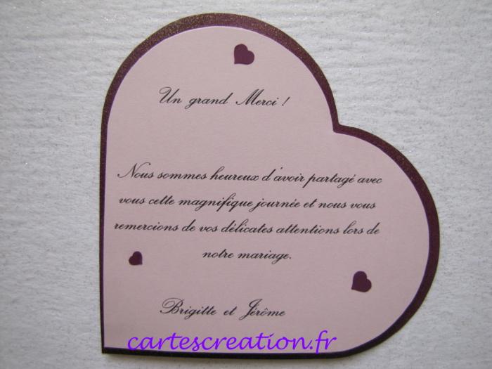 Faire-part mariage coeur violet - cartes de remerciements - cartescreation.fr