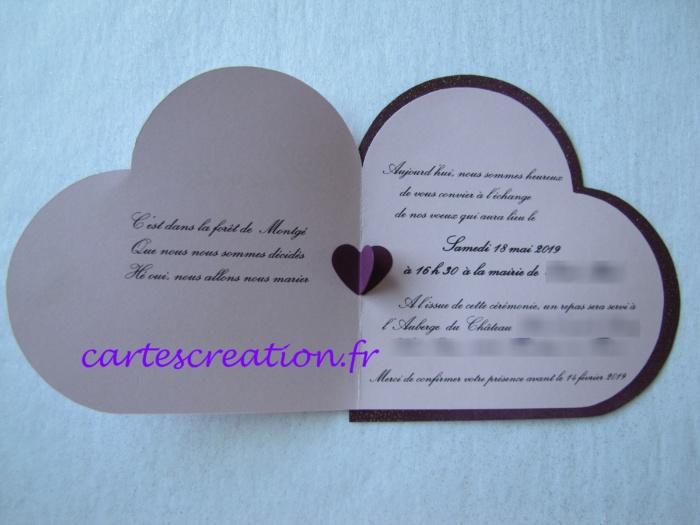 Faire-part mariage coeur violet - cartescreation.fr